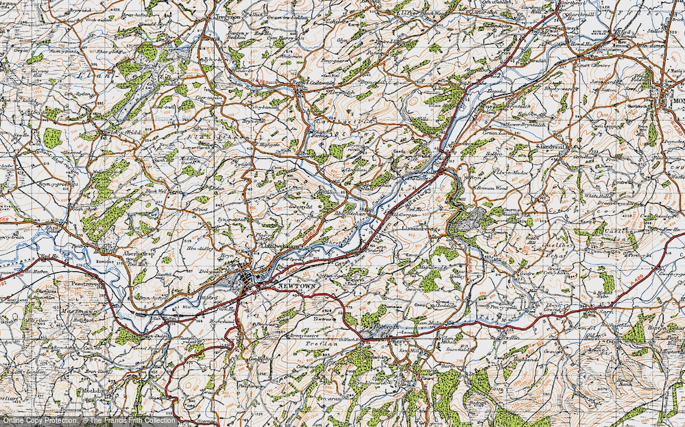 Old Map of Historic Map covering Aberbechan Dike in 1947