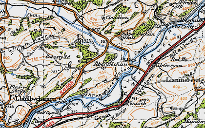 Old map of Aberbechan Dike in 1947