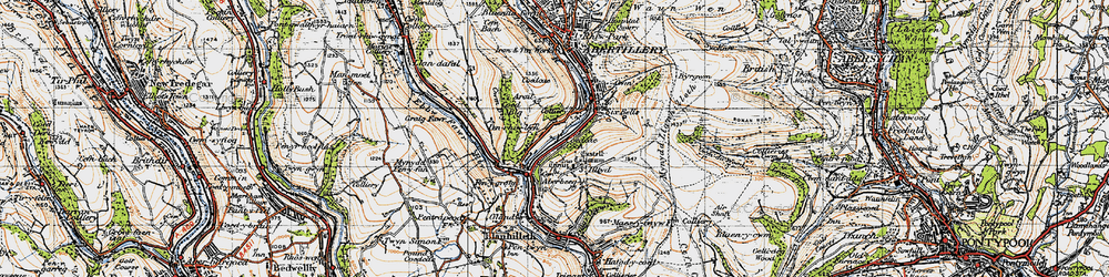 Old map of Aberbeeg in 1947