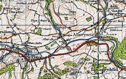 Old map of Aberbran in 1947