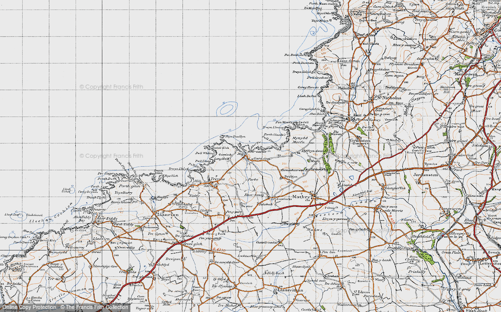 Old Map of Historic Map covering Aber Yw in 1946