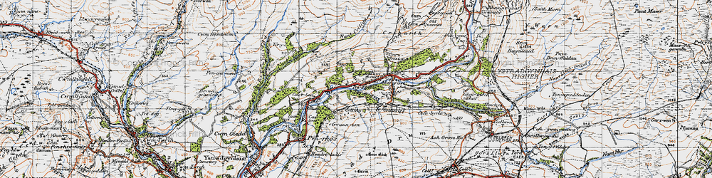 Old map of Abercraf in 1947