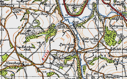 Old map of Afon Cych in 1947