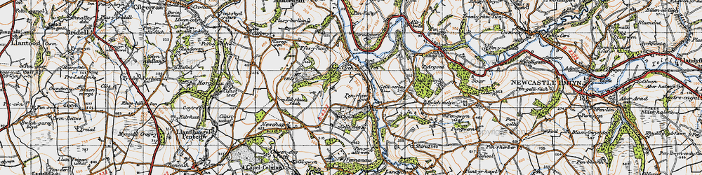 Old map of Abercych in 1947