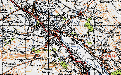 Old map of Aberdare in 1947