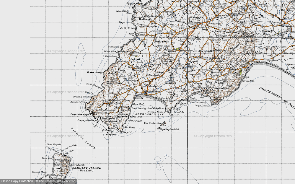 Old Map of Historic Map covering Aberdaron Bay in 1947