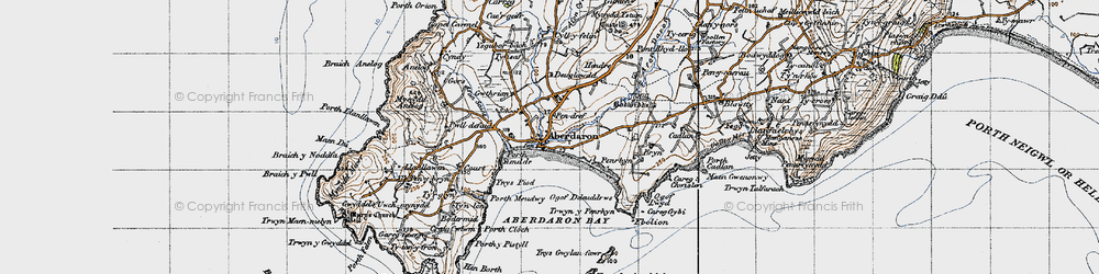 Old map of Aberdaron in 1947