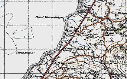 Old map of Aberdesach in 1947