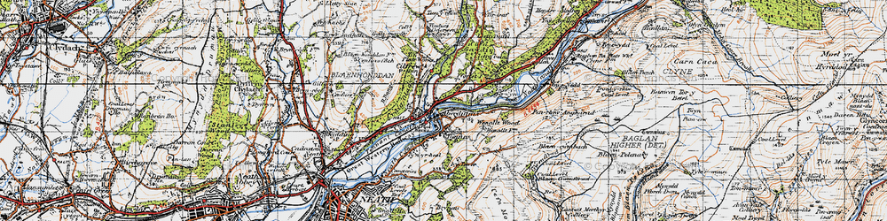 Old map of Aberdulais in 1947