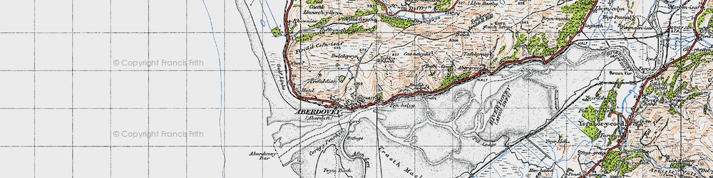 Old map of Aberdyfi in 1947