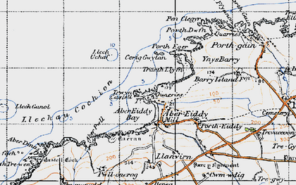 Old map of Aber-pwll in 1946