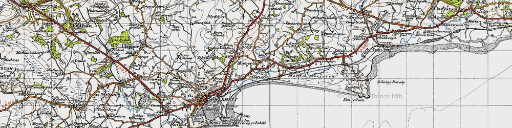 Old map of Abererch in 1947