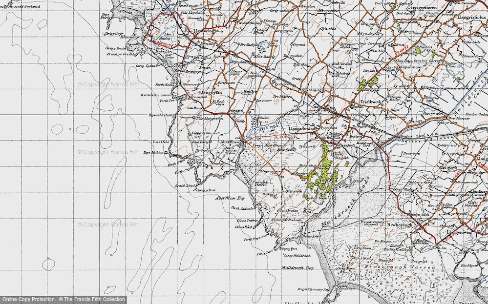 Old Map of Historic Map covering Afon Ffraw in 1947