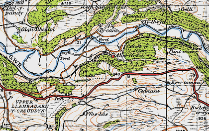 Old map of Aberffrwd in 1947