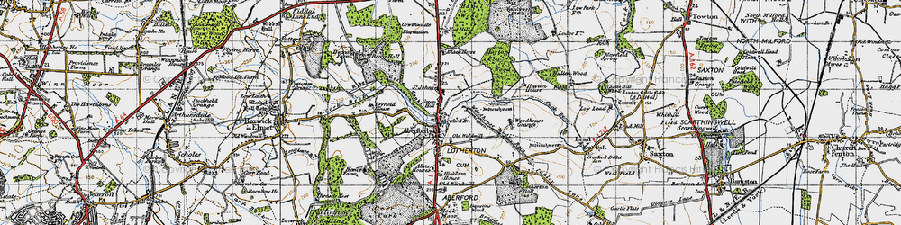 Old map of Aberford in 1947
