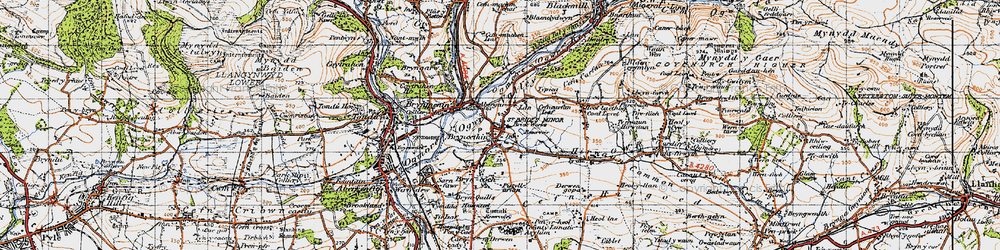 Old map of Abergarw in 1947