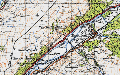 Old map of Abergarwed in 1947