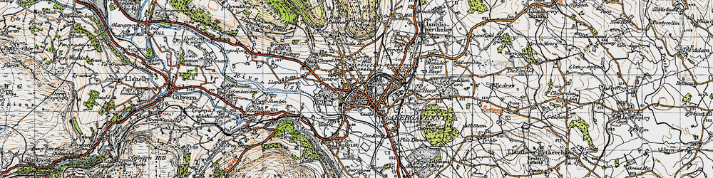 Old map of Abergavenny in 1947