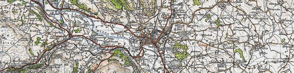 Old map of Abergavenny/Y Fenni in 1947