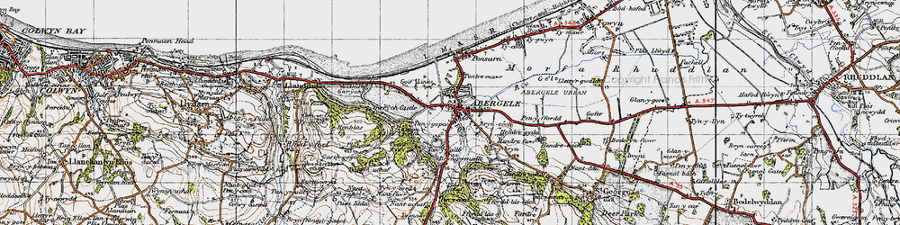 Old map of Abergele in 1947