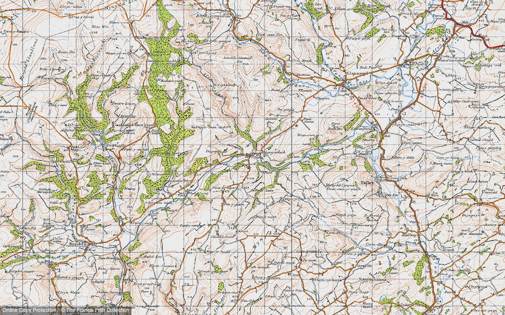 Old Map of Abergorlech, 1947 in 1947