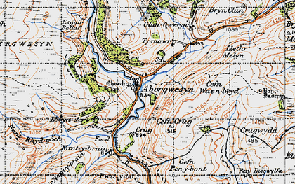 Old map of Abergwesyn in 1947