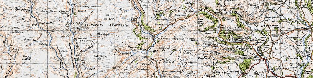 Old map of Afon Gwesyn in 1947