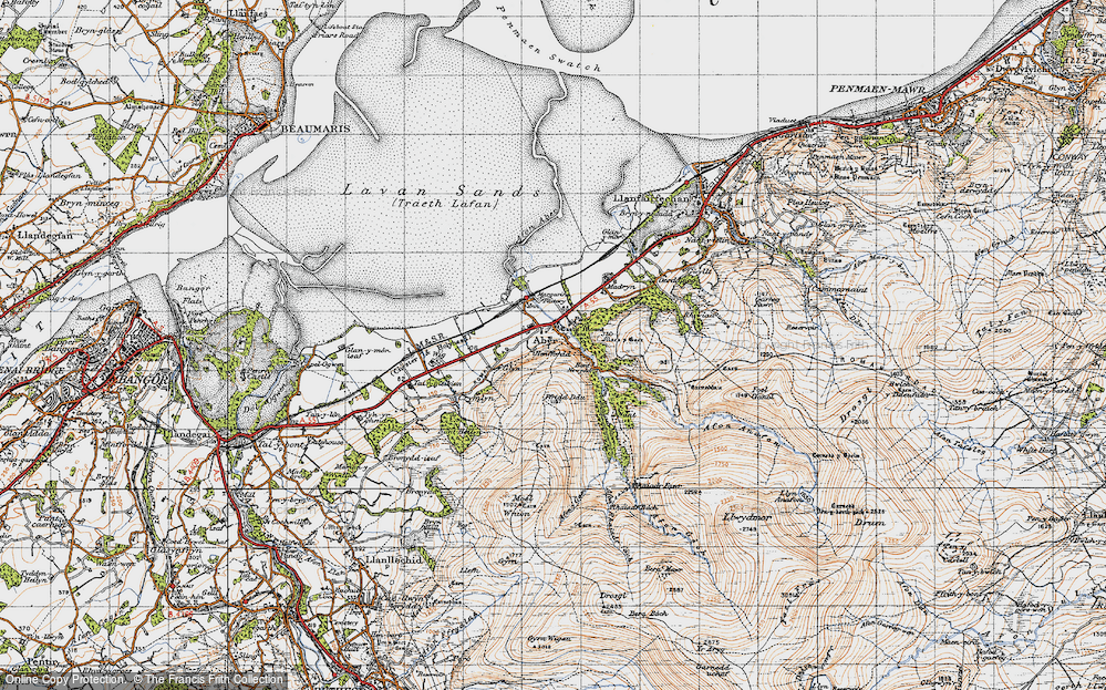Old Map of Historic Map covering Aber Falls in 1947
