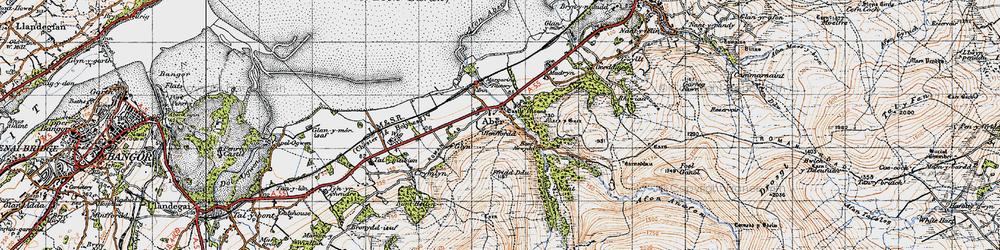 Old map of Afon Rhaeadr-fawr in 1947