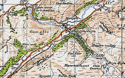 Old map of Abergynolwyn in 1947