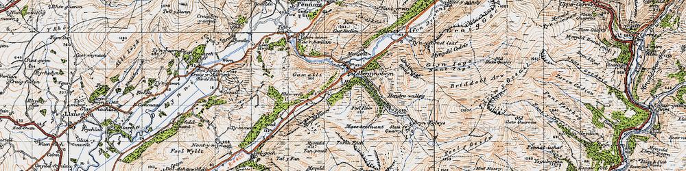 Old map of Abergynolwyn in 1947