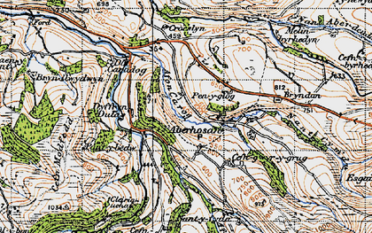 Old map of Aberhosan in 1947
