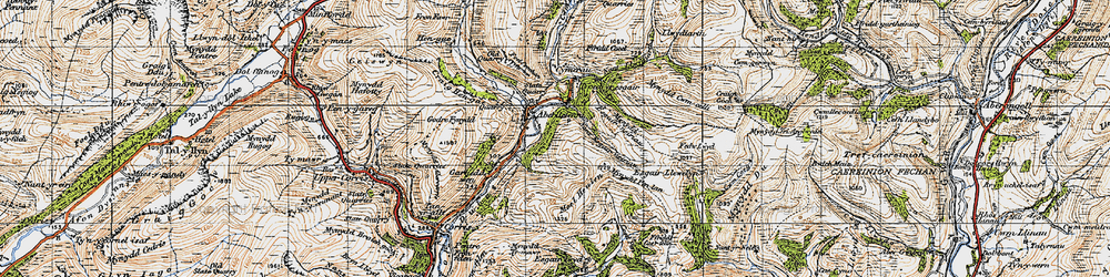 Old map of Aberllefenni in 1947