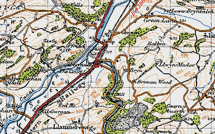 Old map of Abermule/Aber-miwl in 1947