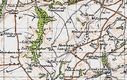Old map of Abernant in 1946