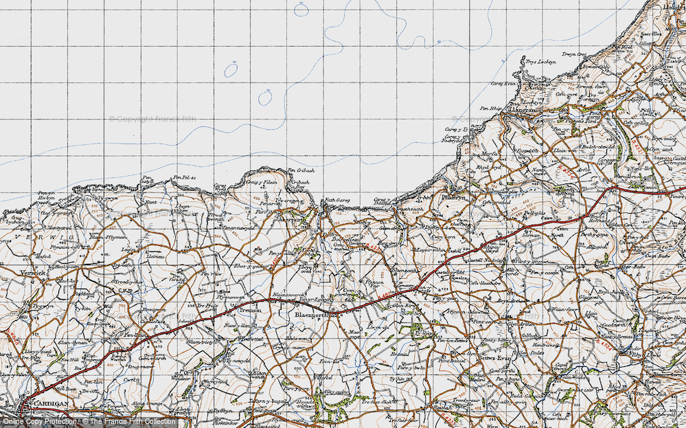 Old Map of Aberporth, 1947 in 1947
