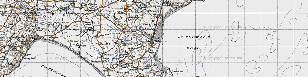 Old map of Abersoch in 1947