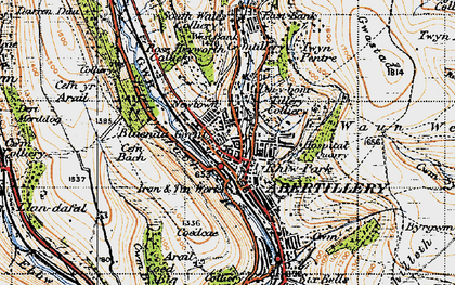 Old map of Abertillery in 1947