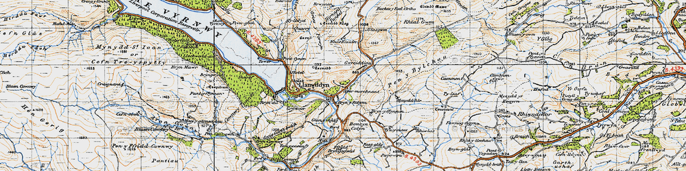 Old map of Aber-marchnant in 1947