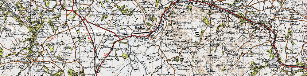 Old map of Aberwheeler in 1947
