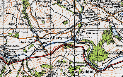 Old map of Aberyscir in 1947
