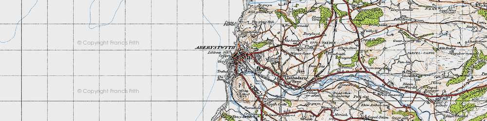 Old map of Aberystwyth in 1947