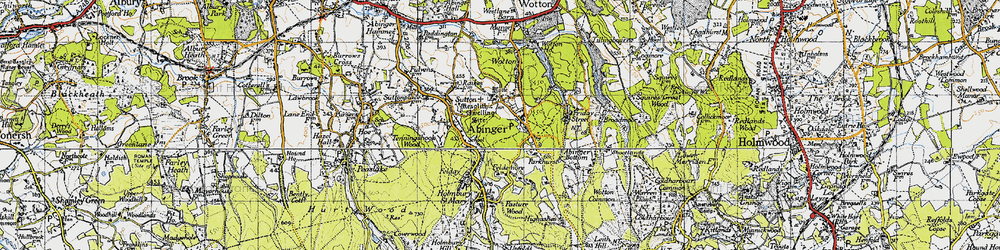 Old map of Abinger Common in 1940