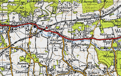 Old map of Abinger Hammer in 1940