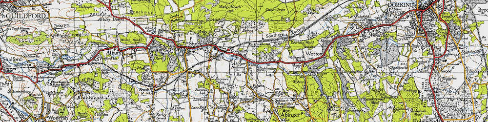 Old map of Abinger Hammer in 1940