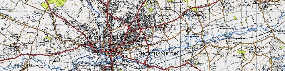 Old map of Abington in 1946
