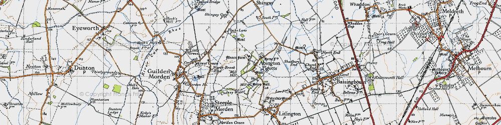 Old map of Abington Pigotts in 1946