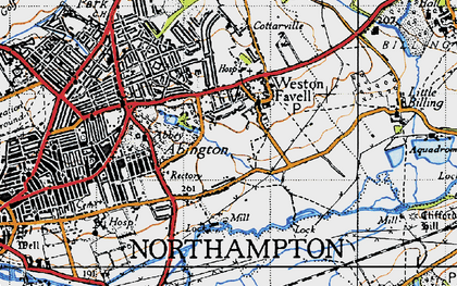 Old map of Abington Vale in 1946