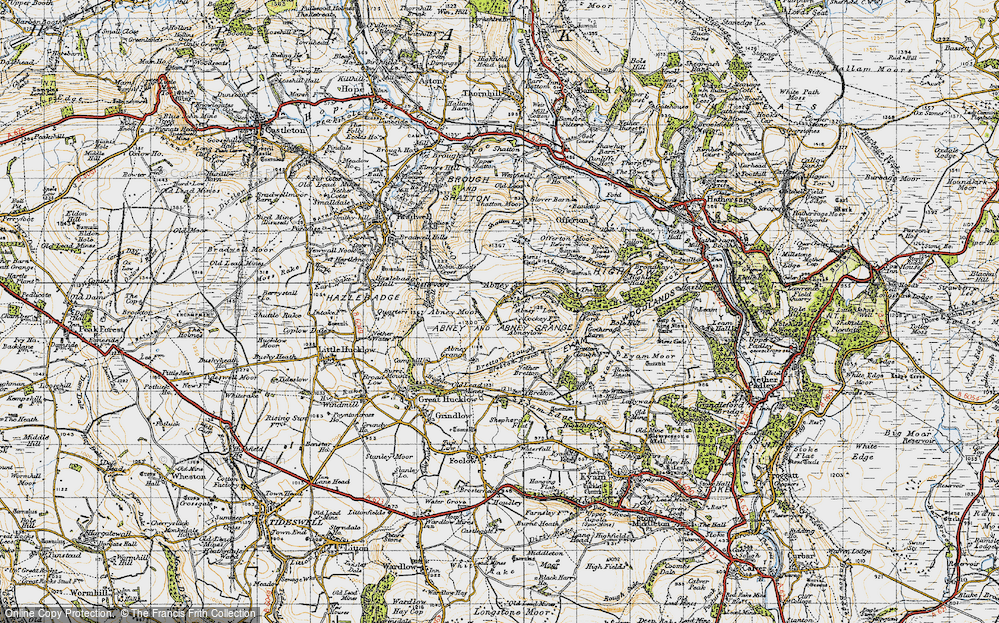 Old Map of Historic Map covering Abney Clough in 1947
