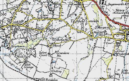 Old map of Abshot in 1945
